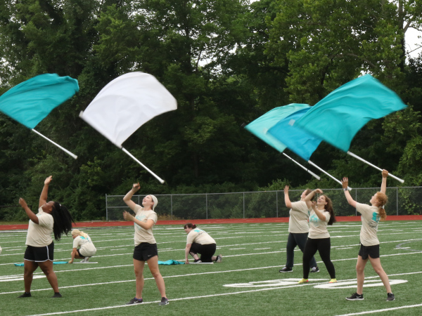 Flag twirling at practice.